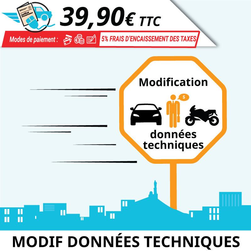 Modification des données techniques ou d'usage d'un véhicule