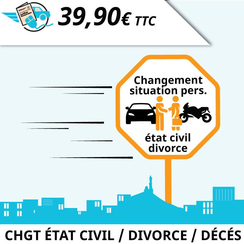 Correction de la carte grise : changement de situation personnelle, mariage, divorce, décès.